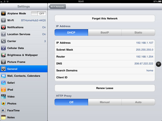 Changing DNS on iPad